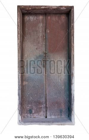 Ancient Chinese style woods doors on white background.