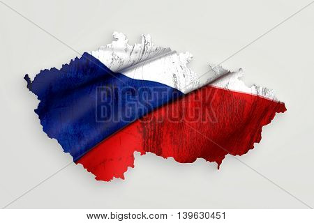 Silhouette Of Czech Rep Map With Flag