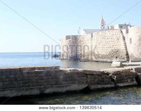 View of Ottoman Turkish Sea Walls in the old city of Acre Akko Israel