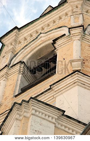 Bell tower of Spaso-Prilutsky Monastery in the Vologda city, Russia. Top part of the building