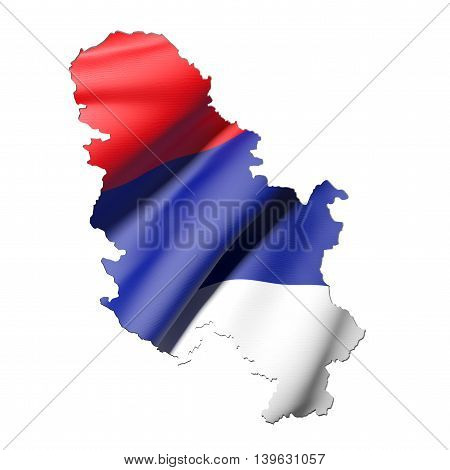 Silhouette Of Serbia Map With Flag