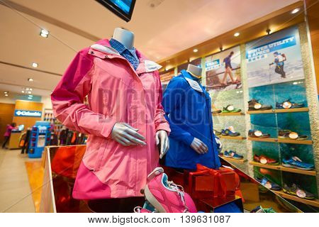 MACAO, CHINA - FEBRUARY 16, 2016: inside of Shoppes at Sands Cotai Centra. Shoppes at Sands Cotai Central is a large shopping mall in Macao