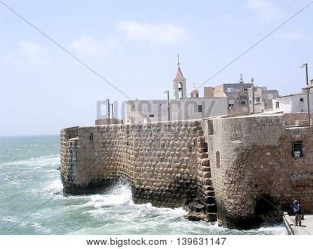 Ottoman Turkish Sea Walls in Akko (Acre) Israel