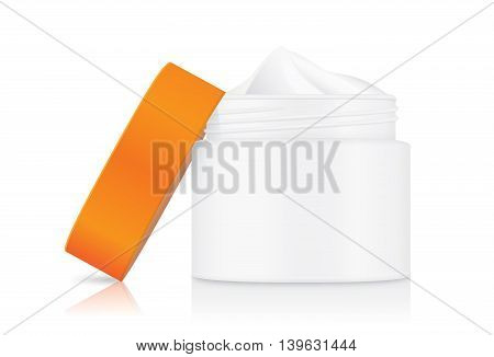 Cream container opaque white color with orange cap which opened at side it. showing inside of jar cream.