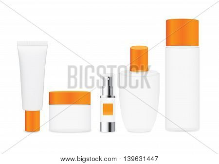 Group shot cosmetic container white color with orange cap. For product container mock up