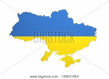 Silhouette Of Ukraine Map With Flag