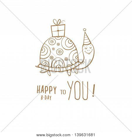 Birthday greeting card with cute cartoon turtle un party hat. Box with a gift. Funny animal. Children's illustration. Vector contour image no fill.
