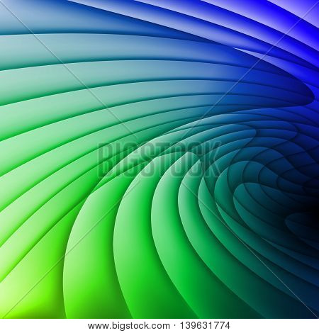 Background is made of green and blue waves.
