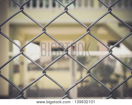 close up of Metal wire fence background