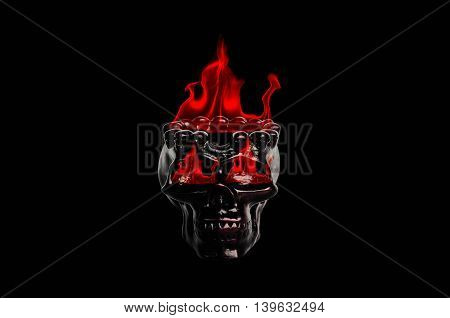 Abstract skull with fire on black background.