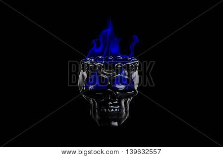 Skull with fire on a black background.