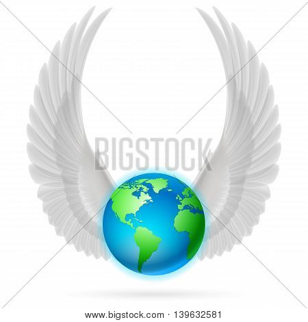 Terrestrial globe with two white wings up on white background.