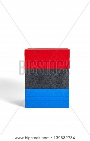 Polystyrene Forms In Colors Red, Black And Blue