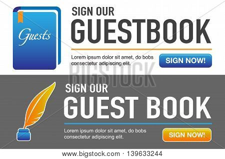 Guest Book with Pen Call to Action Buttons
