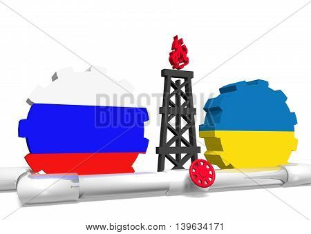 image relative to gas transit from russia to ukraine. 3D rendering