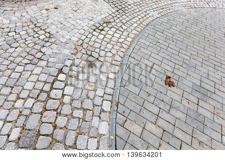 old road made of stone, photographed close up