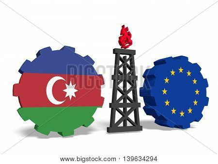 image relative to gas transit from azerbaijan to european union. 3D rendering