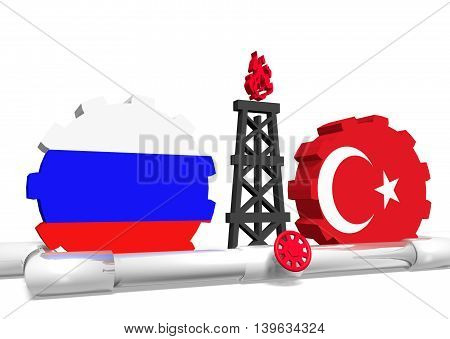 image relative to gas transit from russia to turkey. 3D rendering