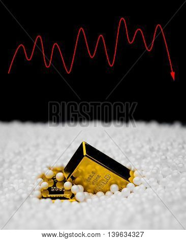 gold bars sink into polystyrene particle and a fluctuation on background monetary concept