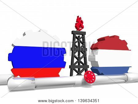image relative to gas transit from russia to netherlands. 3D rendering