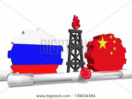 image relative to gas transit from russia to china. 3D rendering