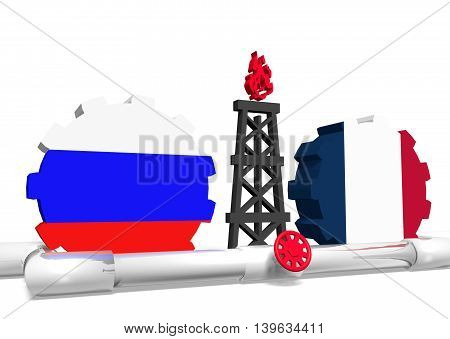 image relative to gas transit from russia to france. 3D rendering