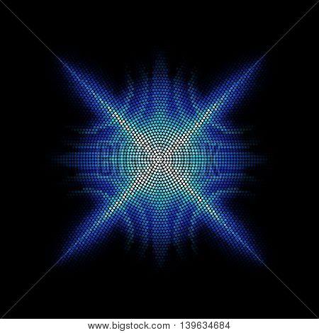 Equalizer bright digital star on the black background