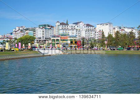 DALAT, VIETNAM - DECEMBER 27, 2015: The modern city centre of Dalat, sunny day. Tourist landmark of the Vietnam