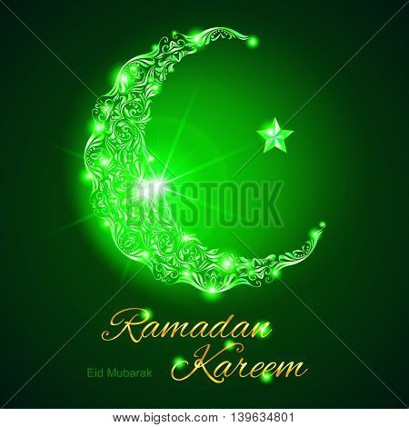 Glowing ornate crescent with bright flare and star in green shades. Greeting card of holy Muslim month Ramadan