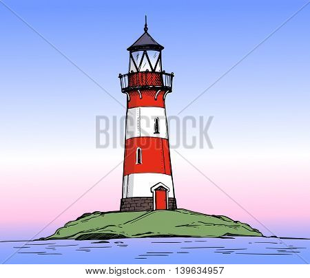 Hand Drawn Vector Illustration - Lighthouse On The Sea. Colorful Background Of Landscape Nature