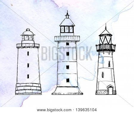 Hand Drawn Vector Illustration - Set Of Lighthouses. Sketch Style. Watercolor Background
