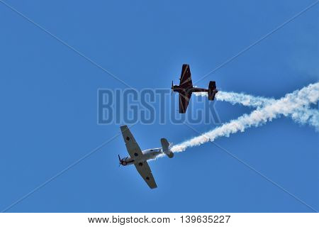 DELTA, BC, CANADA. JULY 23, 2016. Stunt planes perfor aerobatics at the Boundary Bay Airshow