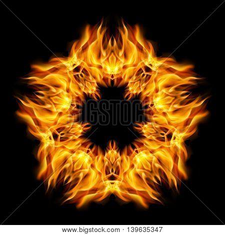 Flame star orange color of form star. Black background