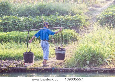Shanghai China 07/22/2016 Hard working Chinese farmer carries two heavy bucket of water away from a small river to water his field