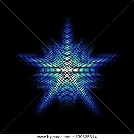 Dots digital form star on the black background