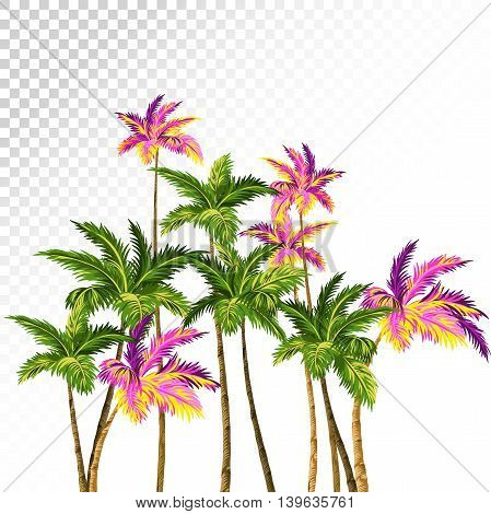 vector palms composition with green and neon palm trees. retro style illustration, aloha hawaiian drawing.