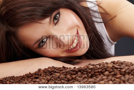 Beautiful girl's with coffee beans