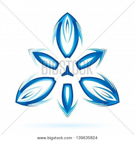 Abstract shape with thorn elements in blue shades on white background