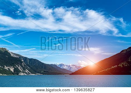 Beautiful sunset above the lake in mountains Alps Austria