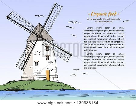 Hand drawn vector illustration - Landscape with mill. Template for your design