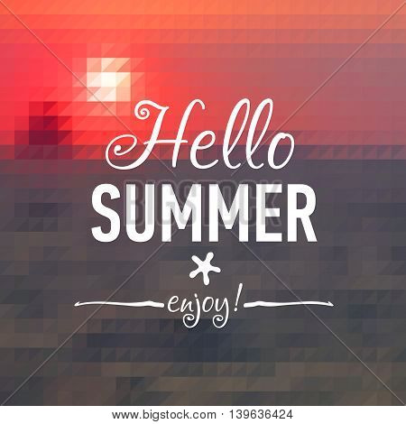 Summer geometry post card with sunset background and text badge. Vector illustration.