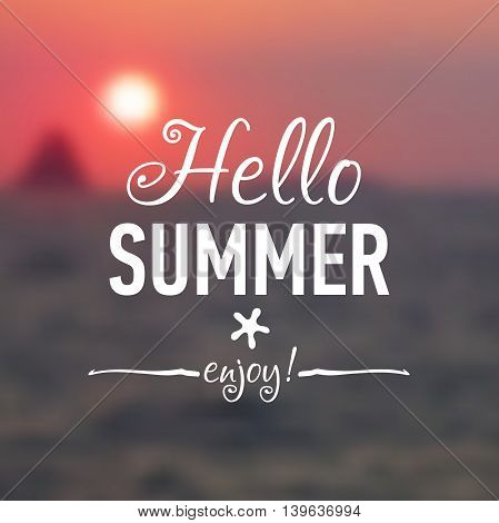 Summer card with sunset background and designed text. Vector illustration.