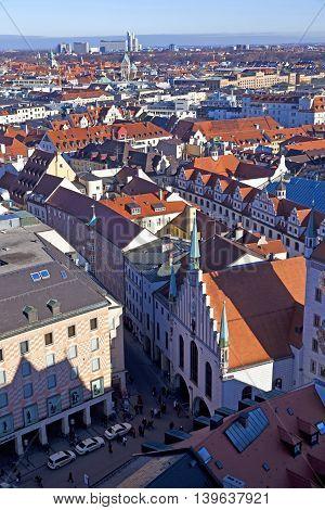 aerial of Munich in beautiful weather under blue sky