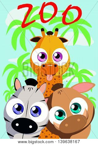 Poster for zoo event. It can be used as a signboard banner logo for children's play as a book cover and another applications