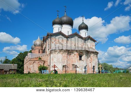View of the old Trinity Cathedral of the Holy Trinity of Michael of Klopsk monastery in sunny june day. Novgorod region, Russia
