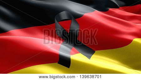 pray for germany waving germany country flag color background with black ribbon victims in germany 3D illustration