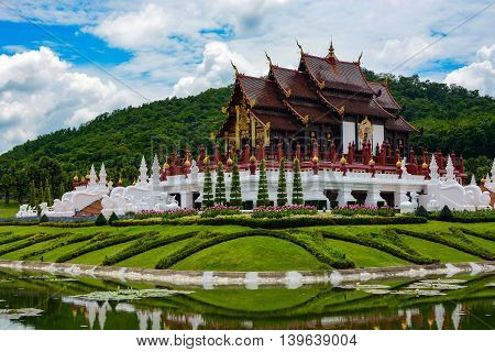 Chiang Mai, Thailand - July 22, 2016: Traditional pavilion and beautiful flower gardens at the Thai Royal Park Rajapruek.