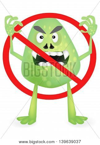 Vector illustration of stop virus on isolated background