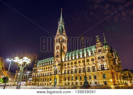 famous old townhall in Hamburg by night