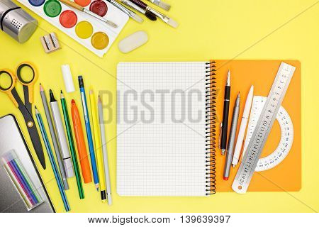 Colorful School Stationary And Accessories With Writing And Drawing Tools